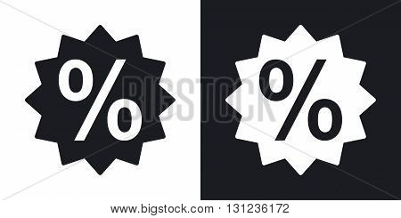 Vector percent sign. Two-tone version on black and white background