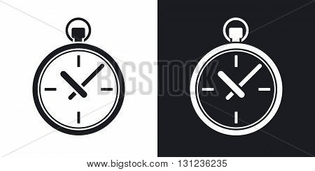 Vector pocket watch icon. Two-tone version on black and white background