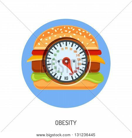 Diet, Obesity and Overweight Concept for Mobile Applications, Web Site, Advertising with Hamburger and Scales Icons.