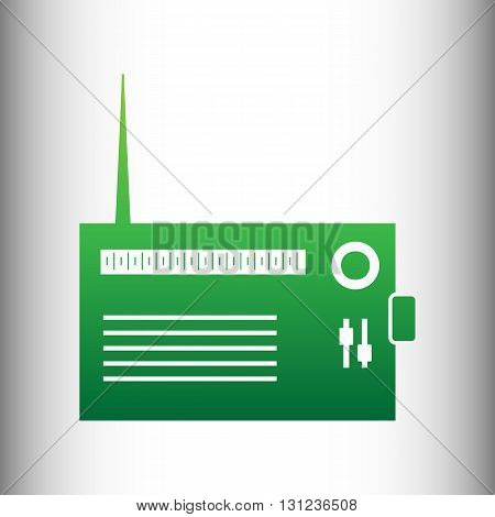 Radio sign. Green gradient icon on gray gradient backround.