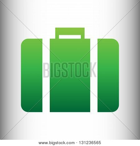 Briefcase sign. Green gradient icon on gray gradient backround.