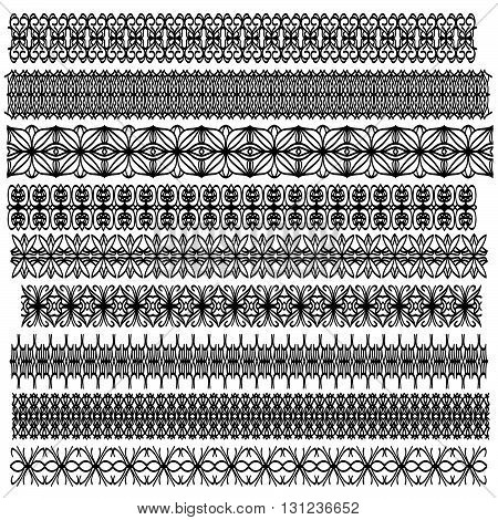 Black ornamental trim collection over white background