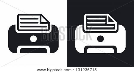 Vector printer icon. Two-tone version on black and white background
