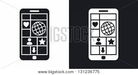 Vector smart phone with tiled interface. Two-tone version on black and white background
