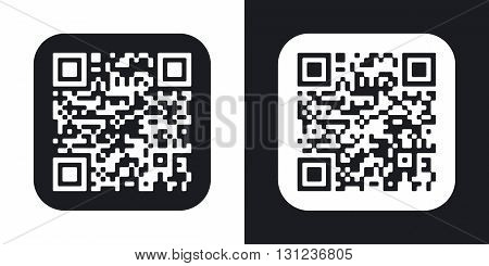 Vector QR code icon. Two-tone version on black and white background