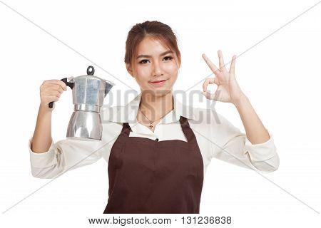 Asian Barista Girl Show Ok Sign With Coffee Moka Pot