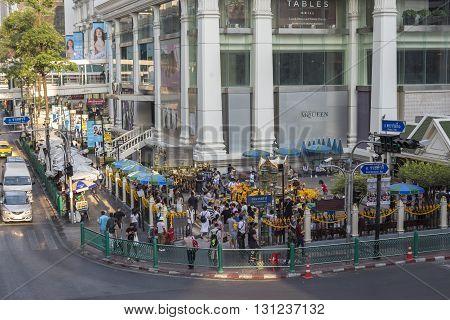 BANGKOK THAILAND - APR 17 : scene of Ratchaprasong Junction at Erawan shrine corner on april 17 2016 thailand. Ratchaprasong Junction one of is famous landmark of Bangkok