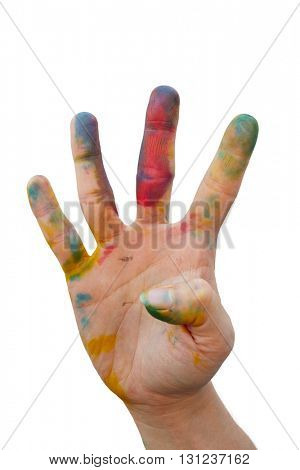 Messy hand with colourful tint make a hand gesture
