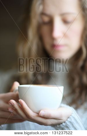 Woman Holds A Cup Coffee Close Up