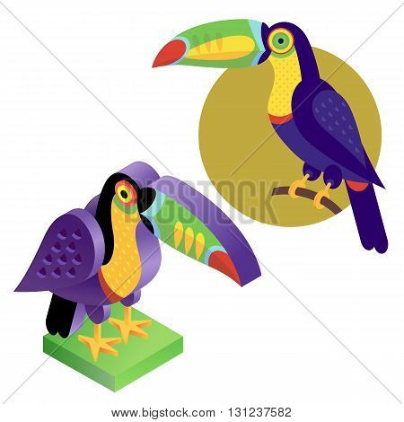 Unusual illustration of a set of birds. Vector bird flat icon toucan and its isometric view. Two design on isolated on white background.