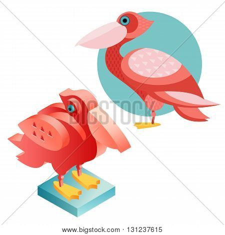 Unusual illustration of a set of birds. Vector bird flat icon pelican and its isometric view. Two design on isolated on white background.