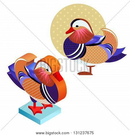 Unusual illustration of a set of birds. Vector bird flat icon mandarin duck and its isometric view. Two design on isolated on white background.