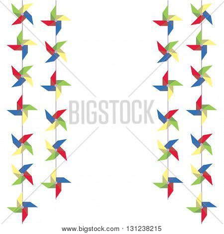 Festive garland of colored paper pinwheels. Vertical festive garland of pinwheels. Bright garland for decoration. Vector illustration.