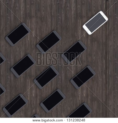 Abstract Background With Black And White Mobile Phones. 3D Illustration.