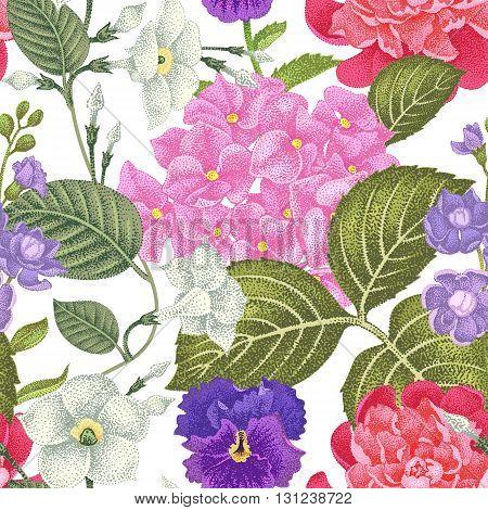 Garden hydrangea flowers violet bindweed gillyflower on a black background. Vector. Seamless floral pattern. Illustration - luxury packaging design template textile paper wallpaper.