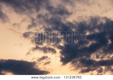 Background dramatic dark sky with clouds, detail