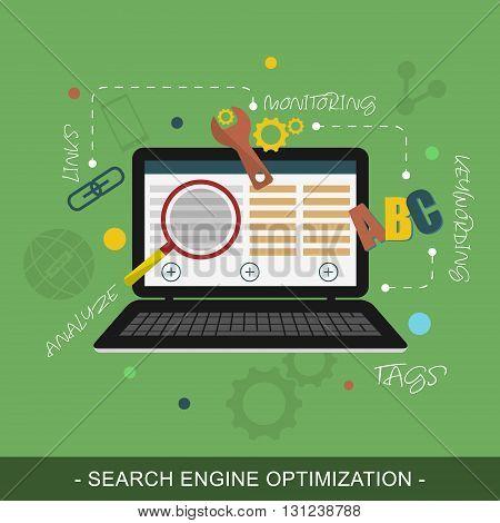 SEO (Search engine optimization) vector concept illustration. Notebook magnifier letters and icons.