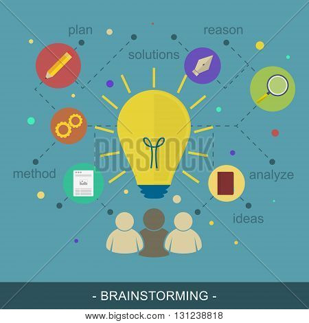 Brainstorming ideas illustration flat concept. Editable vector design for your promotion materials or banner.