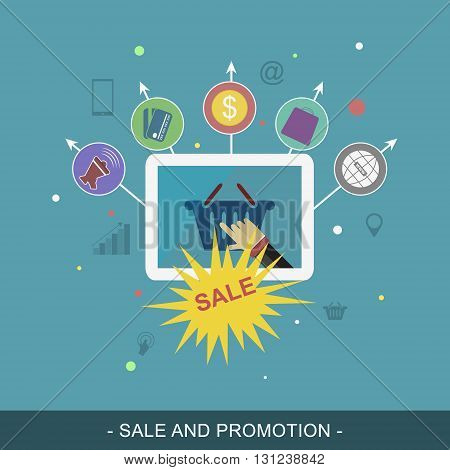 Sale and promotion vector banner. Flat illustration for promotion materials or website banner.