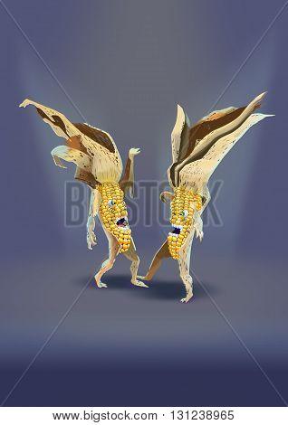 two characters dried corn dancing a strange dance