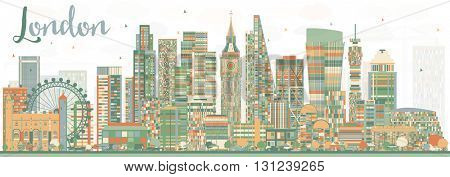 Abstract London Skyline with Color Buildings. Business Travel and Tourism Concept with Modern Buildings. Image for Presentation Banner Placard and Web Site.