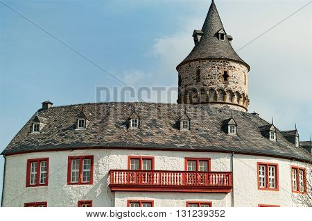 Roof and a balcony of the medieval castle Oelber in Lower Saxony. Germany
