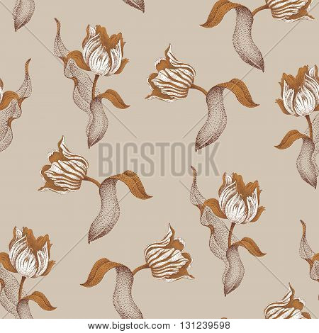 Spring flower tulip. Vector seamless floral pattern. Garden bulbous tulip flower. Illustration - template luxury packaging design textiles paper. Gold branches leaves flowers on gray background.