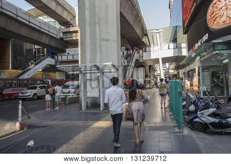 BANGKOK THAILAND - APR 24 : unidentified people on shopping street in siam square on april 24 2016 thailand. siam square is famous shopping place of Bangkok