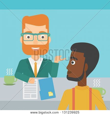 A journalist interviewing an african-american man on a light blue background vector flat design illustration. Square layout.