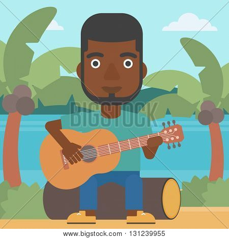 An african-american man sitting on a log and playing a guitar on the background of tropical beach with palm trees and the sea vector flat design illustration. Square layout.
