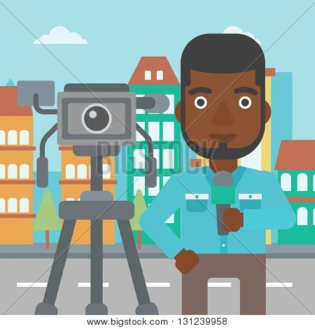 A camera filming and an african-american  reporter standing with a microphone on a city background vector flat design illustration. Square layout.