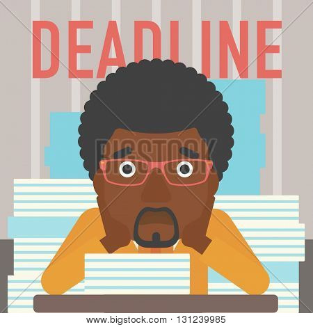 A stressed african-american man sitting at the table with stacks of papers and having problem with deadline vector flat design illustration. Square layout.