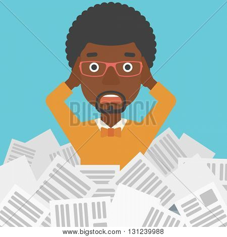 A stressed african-american man clutching his head because of having a lot of work to do with a heap of newspapers in front of him vector flat design illustration. Square layout.