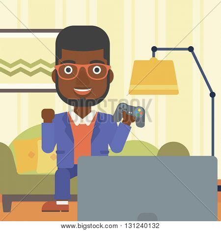 An african-american man with gamepad in hands sitting on a sofa in living room vector flat design illustration. Square layout.