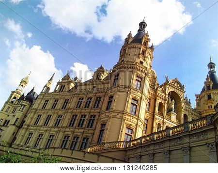 Close-up view on the facade of the romantic Schwerin palace in Mecklenburg-Vorpommern. Germany