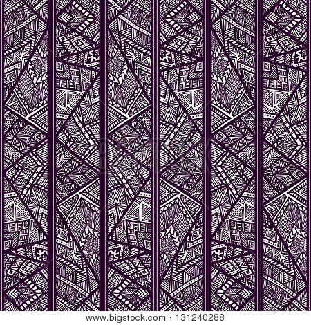 Seamless geometric pattern. Striped pattern with tribal motifs. Zentangl. Vector illustration. Purple.