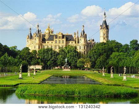 View on romantic Schwerin palace in Mecklenburg-Vorpommern. Germany