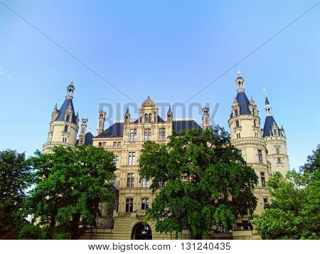 Romantic Schwerin palace in Mecklenburg-Vorpommern in Germany