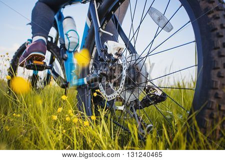 low angle view of cyclist riding mountain bike on the meadow