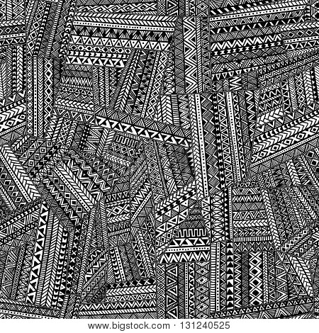 Seamless tribal pattern. Geometric ornament hand drawn. Black and white patchwork vector illustration.
