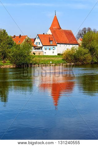Picturesque village Winterhausen am Main, near Wuerzburg in the late afternoon, Germany
