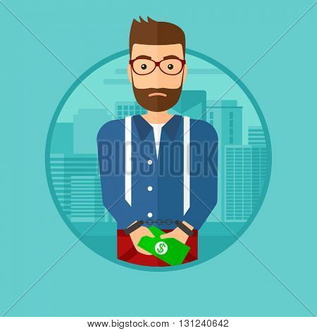 A hipster man with the beard in handcuffs with money in hands on the background of modern city. Vector flat design illustration in the circle isolated on background.