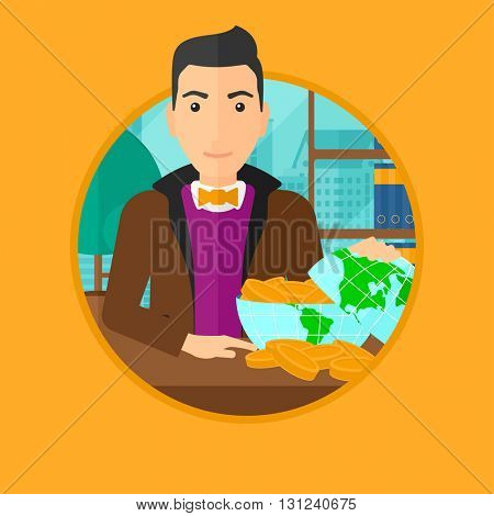 A man sitting at the workplace with a globe model full of coins. Vector flat design illustration in the circle isolated on background.