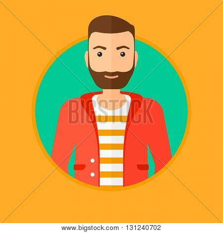 A confident hipster businessman with the beard. Vector flat design illustration in the circle isolated on background.