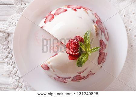 Cheesecake With Strawberries On A Plate Close Up. Horizontal Top View