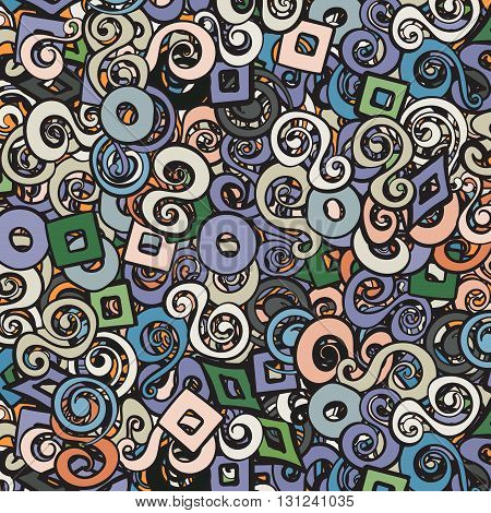 Modern style chaotic colorful background with swirls elements. Background for design projects