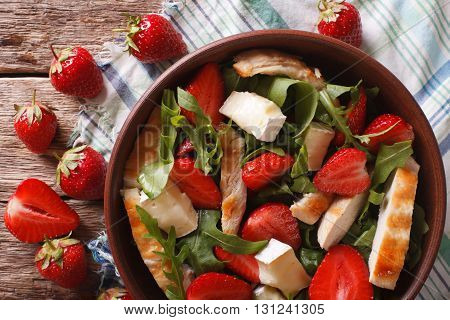 Salad With Strawberries, Grilled Chicken, Brie And Arugula Closeup. Horizontal Top View
