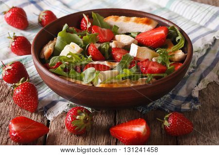 Dietary Salad With Strawberries, Grilled Chicken, Brie And Arugula Close-up. Horizontal