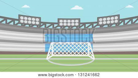 Background of football stadium vector flat design illustration. Horizontal layout.