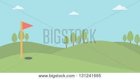 Background of golf field vector flat design illustration. Horizontal layout.
